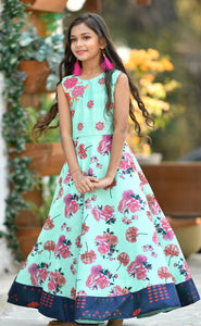 Trendy Mint Green Silk Digital Print & Hand Work With Fine Look Kids Wear Long Gown