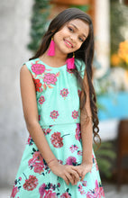 Load image into Gallery viewer, Trendy Mint Green Silk Digital Print & Hand Work With Fine Look Kids Wear Long Gown