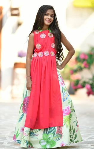 Pleasure Pink Georgette Digital Flower Printed Work With Rapture Kids Wear Lahenga Choli