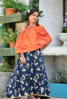Picture-book Orange & Blue Silk Metallic Foil Hand Work With Superb Kids Wear Long Gown