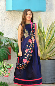 Delusional Navy Blue Silk Metallic Foil Hand Work With Conceived Kids Wear Long Gown