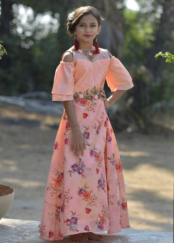 Fabricated Peach Silk Metallic Foil Hand Work With  jubilant Kids Wear Long Gown