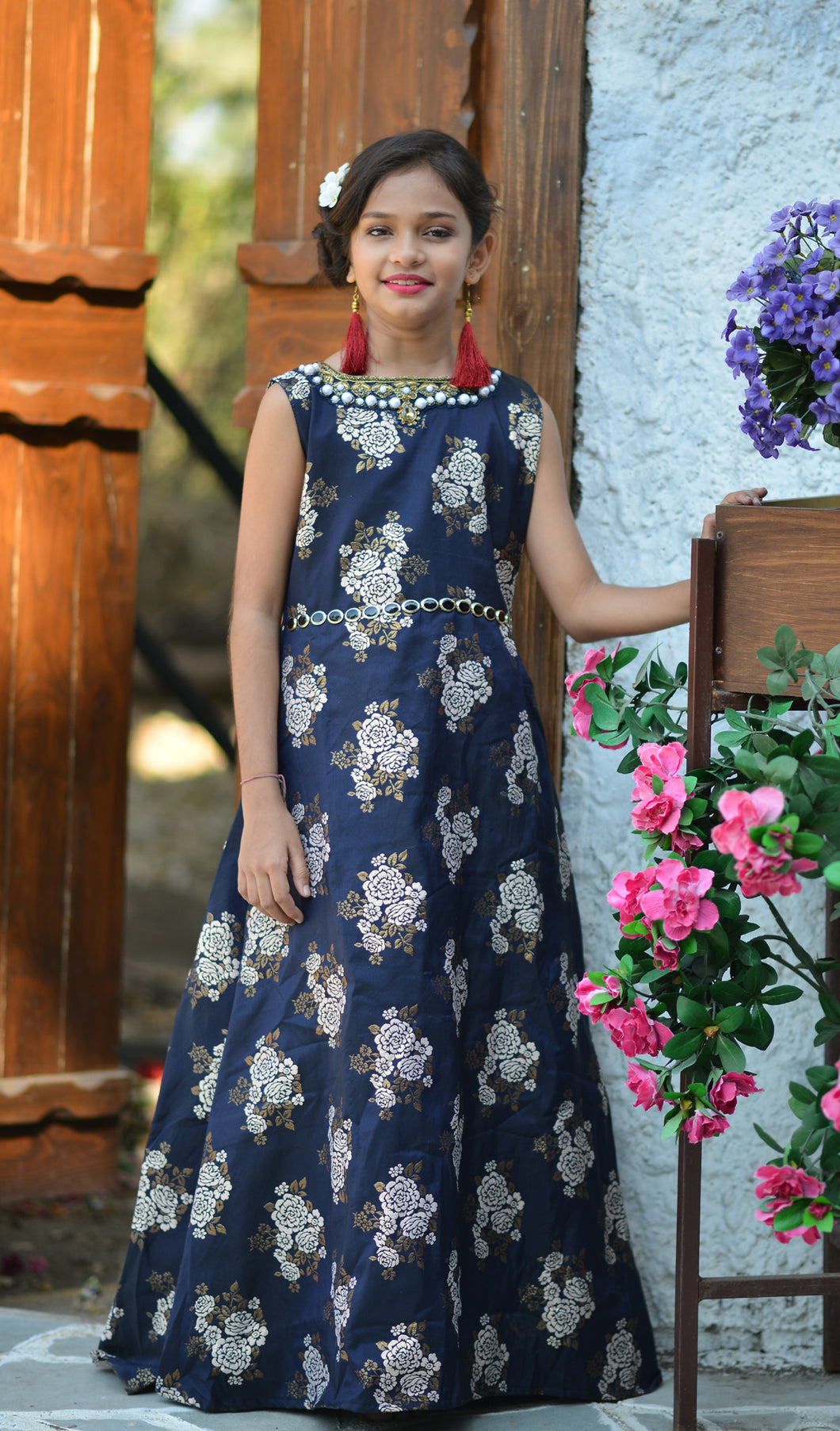 Pretty Look Navy Blue Jacquard Silk Hand Work With Latest Honest Kids Wear Long Gown