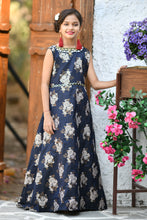 Load image into Gallery viewer, Pretty Look Navy Blue Jacquard Silk Hand Work With Latest Honest Kids Wear Long Gown