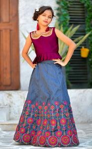 Prime Dynamite Deep Pink Silk Embroidered & Hand Work With Superb Kids Wear Lahenga Choli