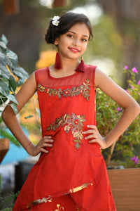 Outstanding Red Taffeta Silk Metallic Foil & Hand Work With Cocktail Wear Kids Wear Long Gown