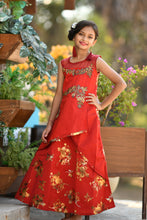 Load image into Gallery viewer, Outstanding Red Taffeta Silk Metallic Foil & Hand Work With Cocktail Wear Kids Wear Long Gown