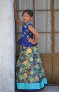 Staggering Blue Silk Embroidered Work With Exclusive Designer Kids Wear Lahenga Choli