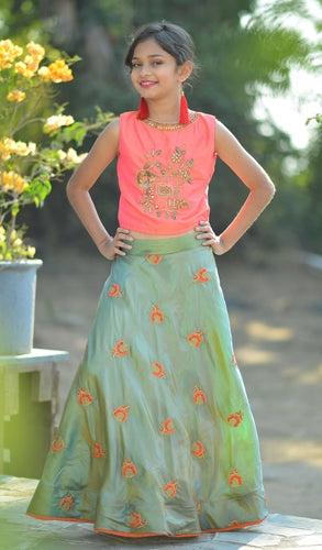 Remarkable Light Pink Silk Embroidered & Hand Work With Startling Kids Wear Lahenga Choli