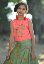 Load image into Gallery viewer, Remarkable Light Pink Silk Embroidered & Hand Work With Startling Kids Wear Lahenga Choli