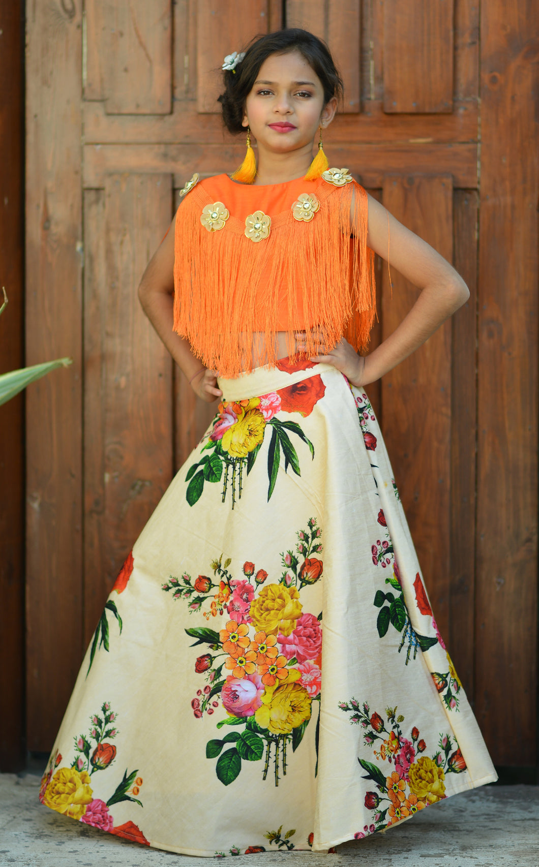 Picturesque Orange Silk Digital Flower Lace Work With Favorable  kids Wear Lahenga Choli