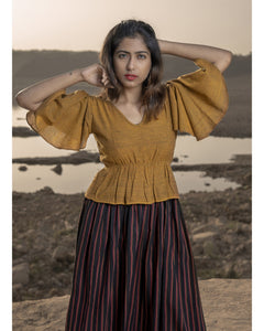 Engrossing Stunning Deep Mustard Pure Linen Khadi Peplum Lining Work With Fancy Maxi Dress
