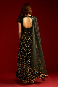 Breathtaking Snazzy Black Satin Creap Cutdaana Butta Embroidery Work With Pretty Anarkali Suit