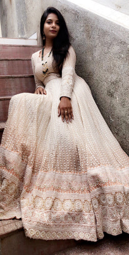 Beauty Look Cream Lakhnavi Sik Hand Work With Superb Long Gown Type Suit