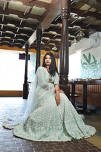 Load image into Gallery viewer, Greatness Sky Blue Lakhnavi Sik Hand Work With Kaizen Lahenga Choli