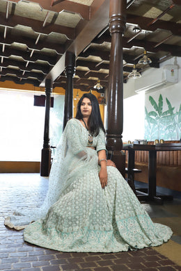 Greatness Sky Blue Lakhnavi Sik Hand Work With Kaizen Lahenga Choli