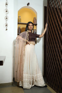 Mordan Look Chocolaty Brown & Light Peach Lakhnavi Sik Hand Work With Lahenga Choli