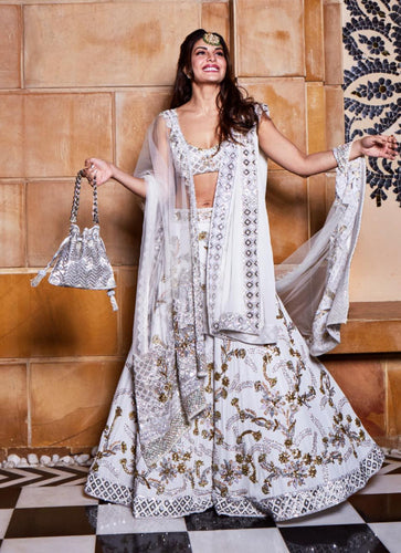 Jacqueline Fernandez White Banglori Satin & Net Embroidery Work With High-waisted Lehenga Choli