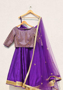 Unsymmetrical Orchid Purple Pure Raw Silk Heavy Hand Work With Superb Lahenga Choli
