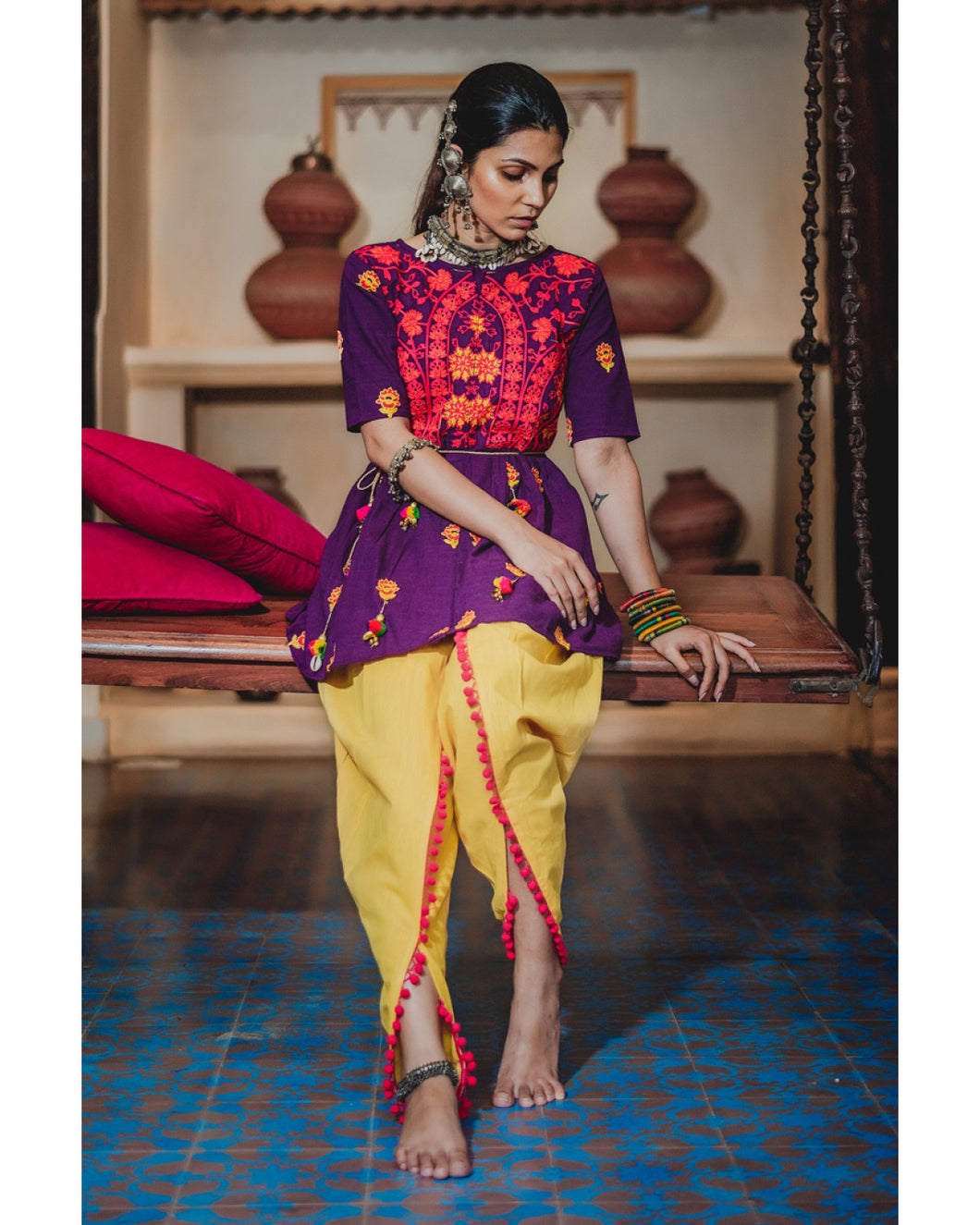 Ladies Embroidered Yoke Purple Kedia With Lemon Tulip Pant
