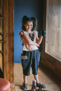 Cream And Deep Blue Swadeshi Khadi Ikat Work With Kids Wear Trouser Pant And Fancy T-shirt
