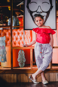 Swadeshi Khadi Chex Ikat Work With Kids Wear Pocket Style Cowl Pant And Offshoulder Short Top Pair