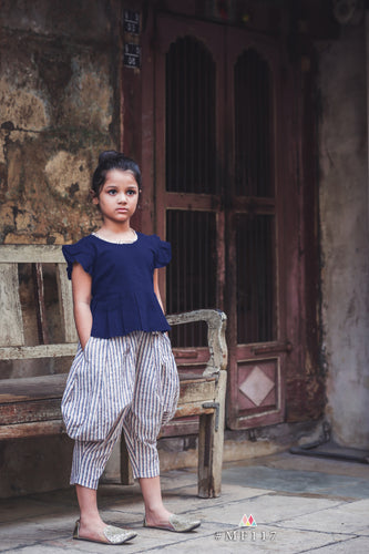 Navy Blue Swadeshi Khadi Lining Ikat Work With Kids Wear Pocket Style Cowl Pant And Short Top
