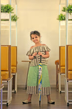 Load image into Gallery viewer, Swadeshi Khadi Lining Ikat Work With Kids Wear Short Flaring Pant & Ruffle Collar Style Short Top