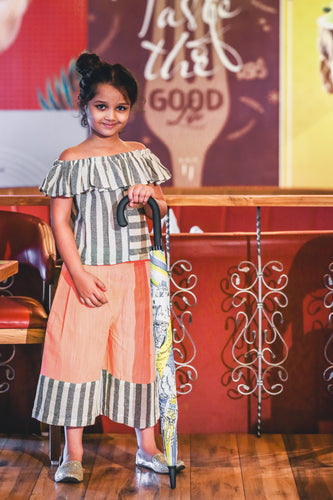 Swadeshi Khadi Lining Ikat Work With Kids Wear Short Flaring Pant & Ruffle Collar Style Short Top