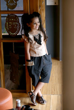 Load image into Gallery viewer, Cream And Deep Blue Swadeshi Khadi Ikat Work With Kids Wear Trouser Pant And Fancy T-shirt