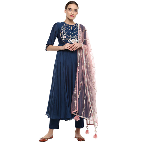 Translucent Efficient Navy Blue Pure Georgette Hand Work & Pari Work With Salwar & Trouser Suit