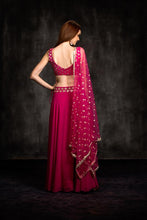 Load image into Gallery viewer, Candescent Amaze Bright Pink Pure Raw Silk Mirror & Heavy Hand Work With Lehenga Choli