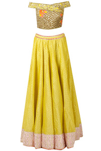 Idiosyncratic Lovable Yellow Bridal Silk Hand Work Lehenga Choli With Fancy Off Shoulder Blouse