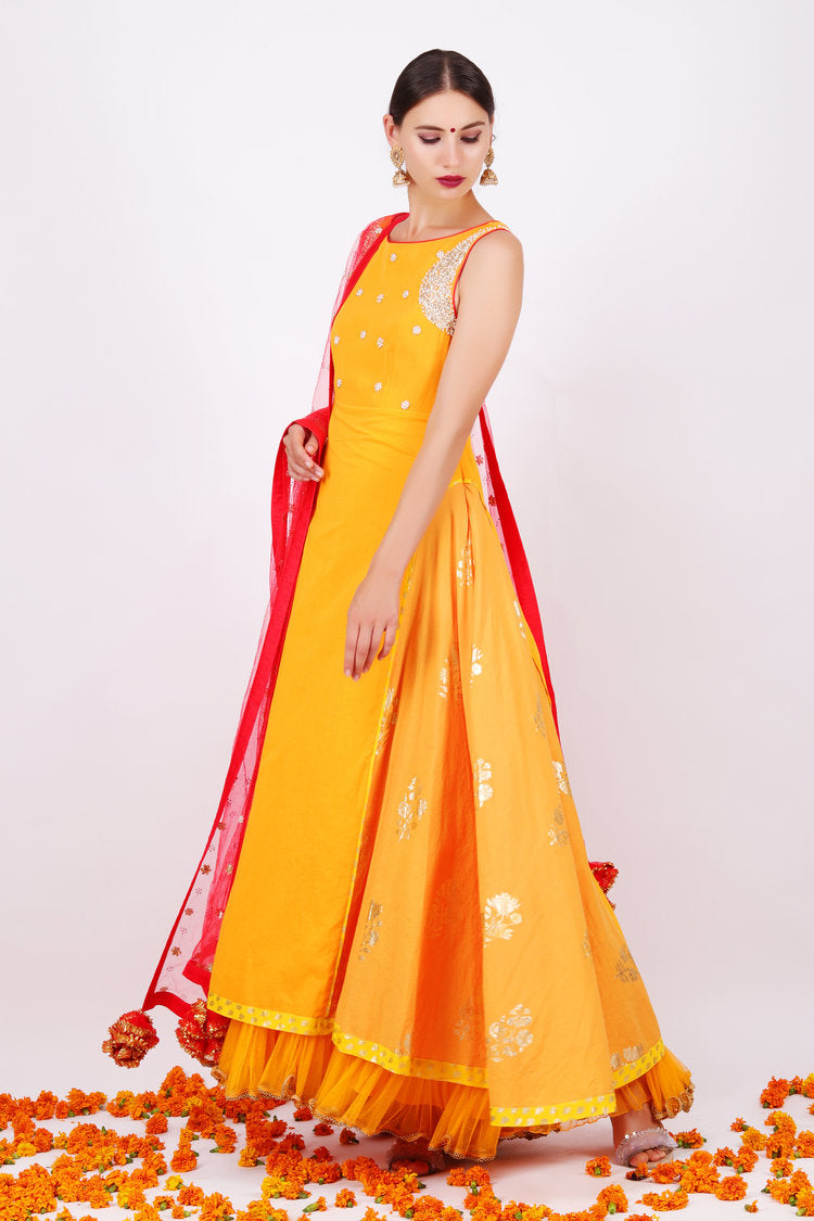 Sophisticated Sugar Lips Yellow Satin Georgette Embroidered Work With Active Long Anarkali Suit