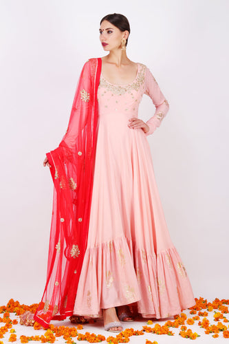 Protective Couture Baby Pink Satin Georgette Embroidered Work With Impressive Long Anarkali Suit