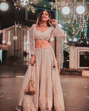 Charming Look Cream Lakhnavi Sik Hand Work With Wonderful Lahenga Choli