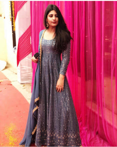 Astonishing Blue Lakhnavi Sik Hand Work With Amazing Long Anarkali Suit