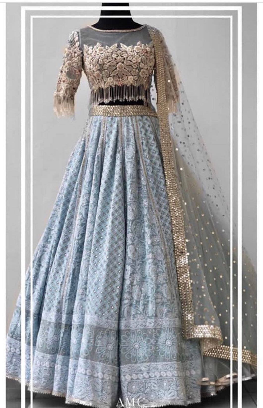 Breathtaking Sky Blue Lakhanavi Silk Hand Work With Impression Lahenga Choli