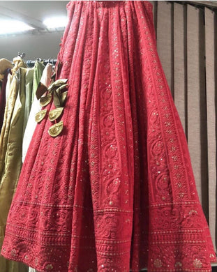 Characteristic Red Lakhnavi Sik Hand Work With Gorgeous Lahenga Choli