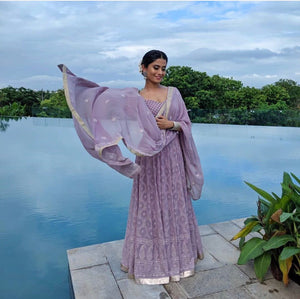 Passionate Lavender Lakhanavi Silk Hand Work With Beauteous Long Anarkali Suit