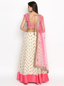 Privileged Candy Rose Pink Georgette Pearl & Kundan Embroidery Work With Magical Lehenga Choli