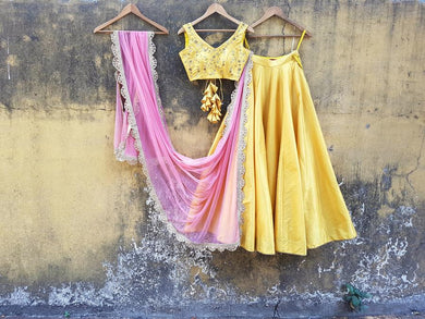 Prizewinning Lemon Yellow Pure Raw Silk Heavy Hand Embroidered Work With Lovable Lehenga Choli