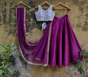 Superlative Wine Purple & Periwinkle Blue Raw Silk Sequence & Resham Work With Lehenga Choli