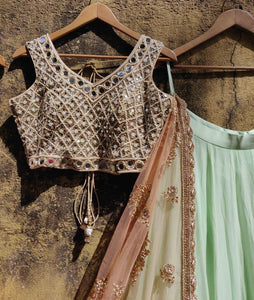 Promiscuous Mint Green & Peach Georgette Mirror & Heavy Hand Work With Delight Lehenga Choli