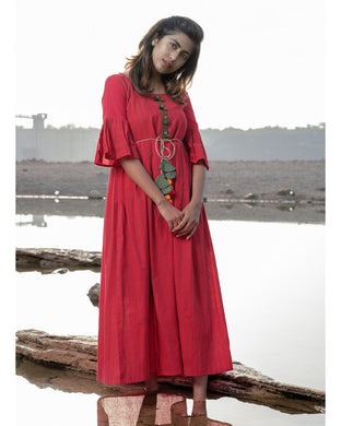 Distinctive Adorable Hottest Red Pure Linen Khadi Peplum Lining Work With Morden Maxi Dress