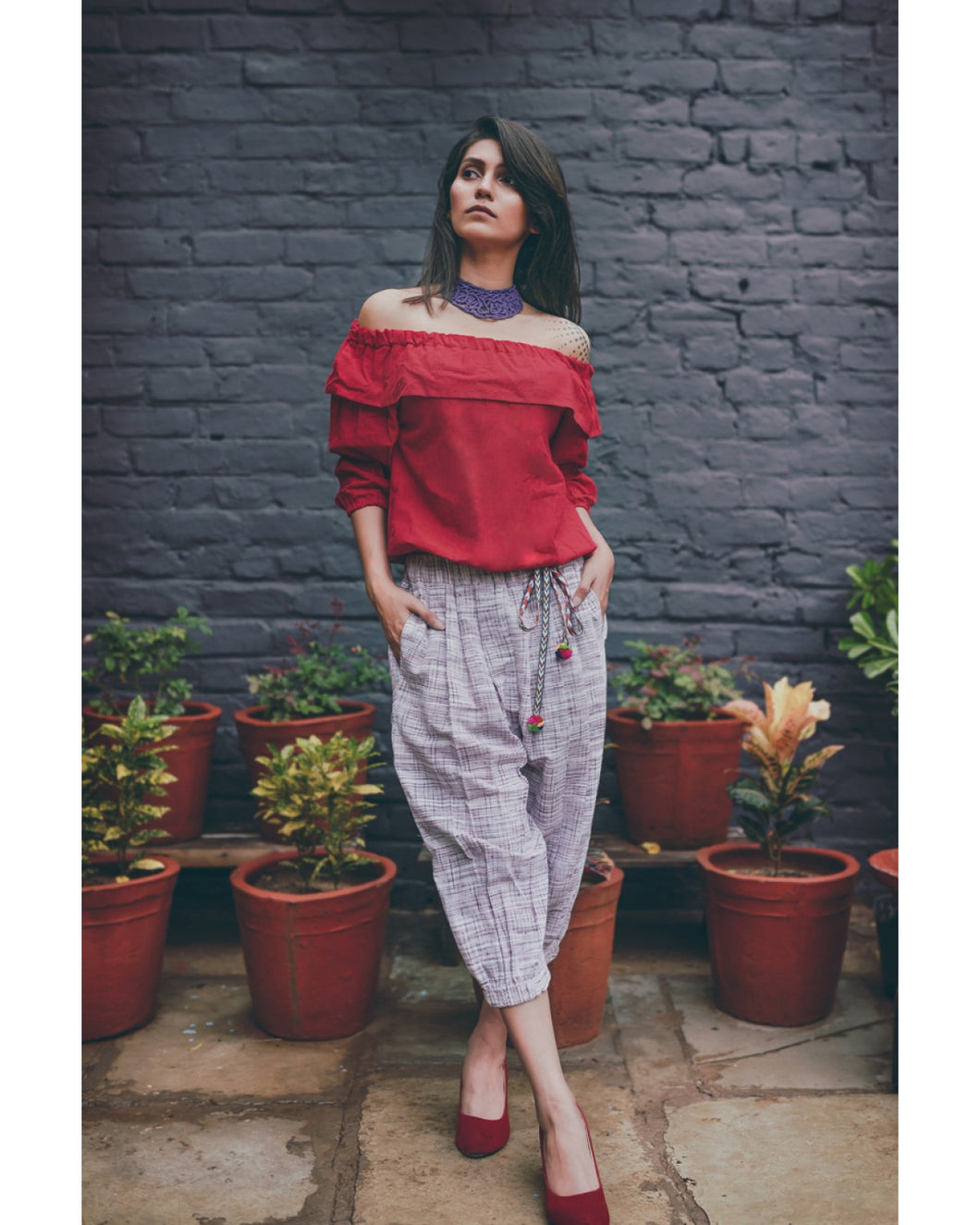 Red Top And Purple Slub Canvas Khadi Calf Length Pair