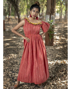 Brilliant Preety Hottest Red Rainbow Pure Linen Khadi Peplum Lining Work With Fancy Maxi Dress