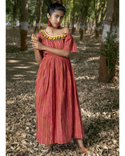 Load image into Gallery viewer, Brilliant Preety Hottest Red Rainbow Pure Linen Khadi Peplum Lining Work With Fancy Maxi Dress