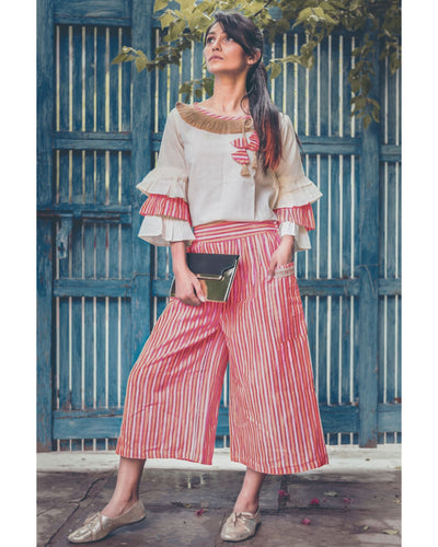 Red Linning Khadi Calf Length Pant With Pagoda Sleeve Top Set