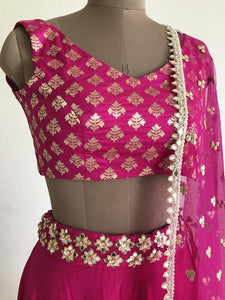Candescent Amaze Bright Pink Pure Raw Silk Mirror & Heavy Hand Work With Lehenga Choli